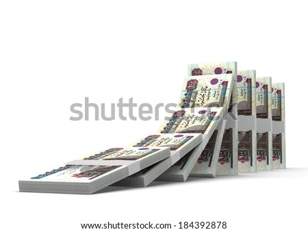 3D Egyptian money dominoes stacked falling and collapsing  isolated on white background - stock photo