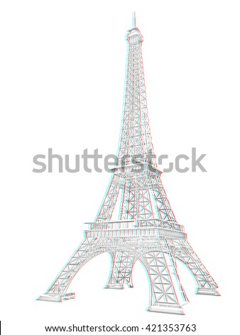 3d Eiffel Tower render. Pencil drawing. 3D illustration. Anaglyph. View with red/cyan glasses to see in 3D.