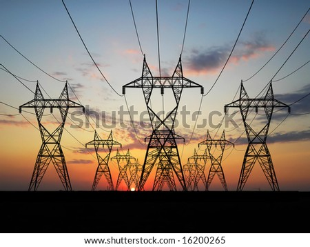 3D Electric powerlines over sunrise - stock photo