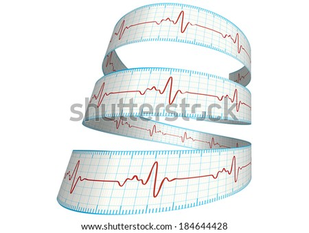 3d electrocardiography / ECG on the Powder Blue grid paper - stock photo