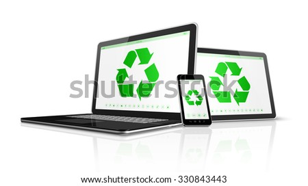 3D Electronic devices with a recycling symbol on screen. environmental conservation concept