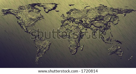 3d embossed map of the world with different styles to choose from - stock photo