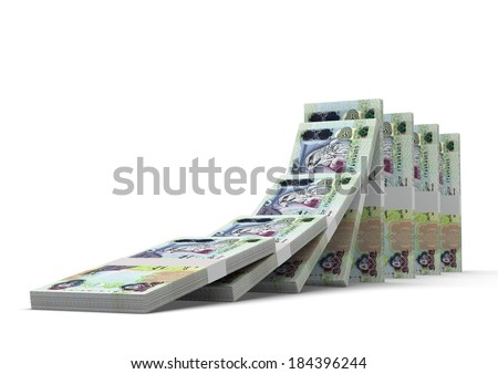 3D emirati money dominoes stacked falling and collapsing  isolated on white background - stock photo