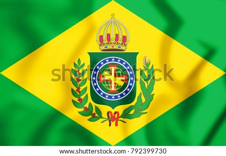 3D Empire of Brazil Flag (1870-1889). 3D Illustration.