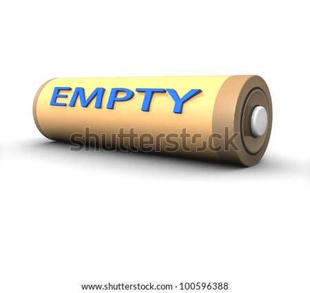 3d empty battery on a white background isolated