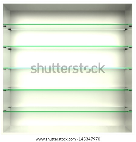 3d, empty bookcase with glass shelves - stock photo