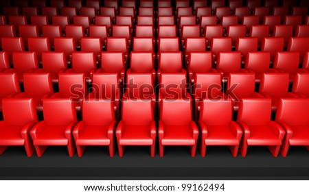3d empty cinema hall with auditorium - stock photo