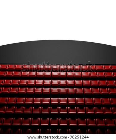 3d Empty cinema screen with auditorium - stock photo