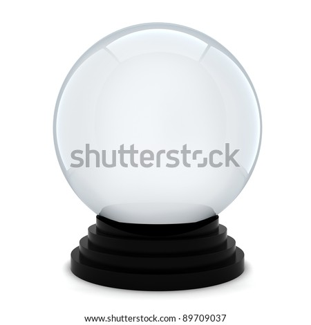 3d empty crystal ball on white background