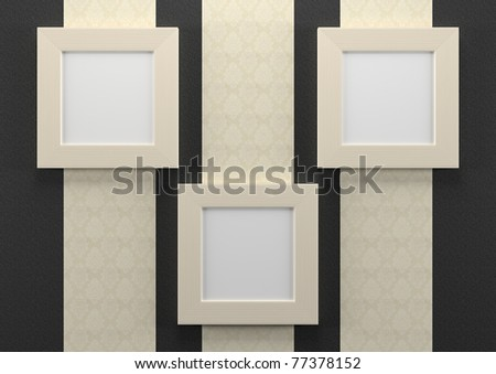 3d empty frames on wall