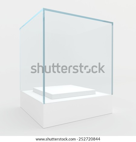 3d Empty glass showcase for exhibit. gray background - stock photo