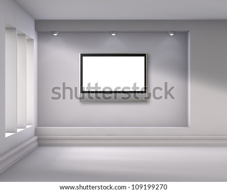 3d empty niche with spotlights and lcd tv for exhibit in the bright interior - stock photo