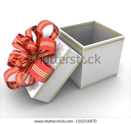 3d Empty opened gift box - stock photo