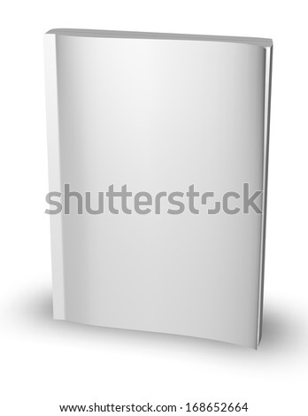 3d empty paper magazine, diary template standing with blank cover isolated on white background illustration render - stock photo