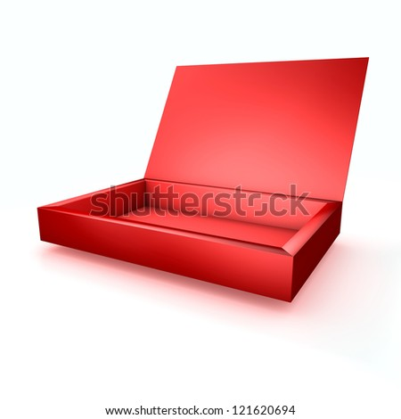 3D Empty Red Box with Cover - stock photo