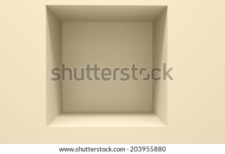 3d Empty shelf for exhibit in the wall. - stock photo