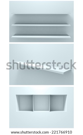 3d Empty shelf for exhibit in the wall. Collection - stock photo