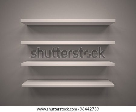 3d Empty shelves - stock photo