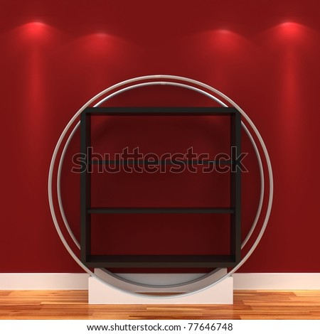 3d Empty shelves for exhibits - stock photo