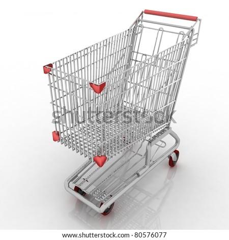 3d empty shopping cart isolated on white background - stock photo