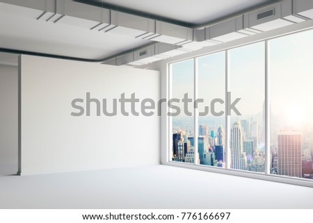 3d empty space interior with big windows and view