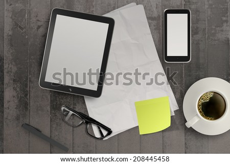 3d empty tablet and a cup of coffee with note pad on the grunge wooden desk  - stock photo