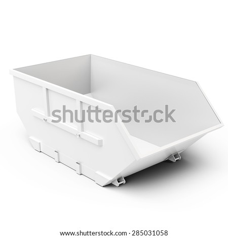 3d empty waste container on white background