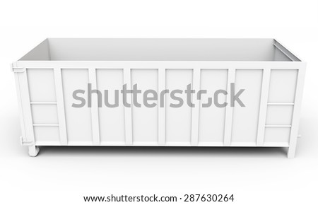 3d empty waste container on white background - stock photo