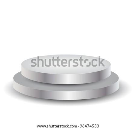 3d Empty white podium over white, illustration - stock photo