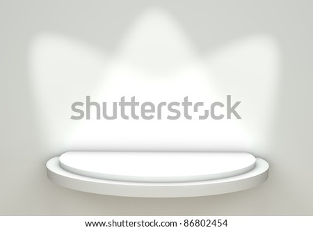 3d Empty White Shelf