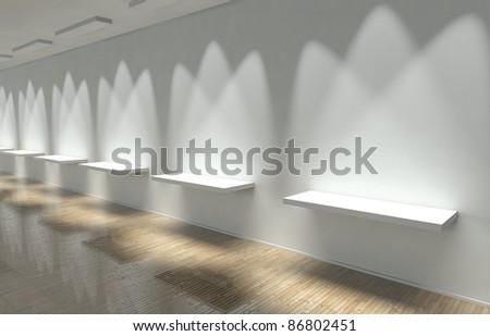 3d Empty White shelves - stock photo