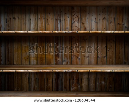3D empty wood shelf: grunge interior for your objects - stock photo