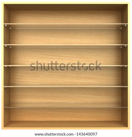 3d, empty wooden bookshelf glass