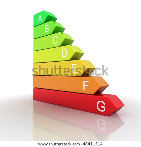 3d energy bars isolated on white background with reflection - stock photo