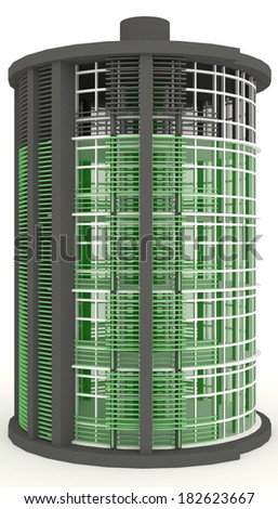 3D energy building exterior in white background. It is design to look like medium battery level.