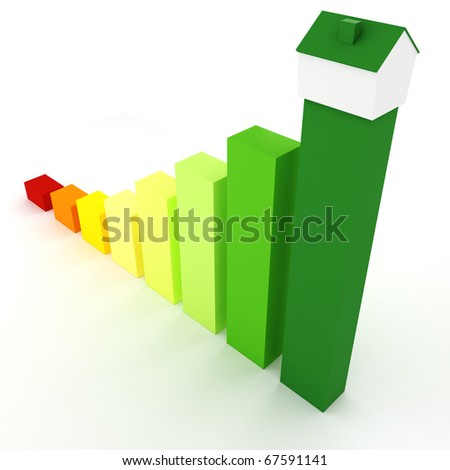 3d, Energy efficiency concept, on white background - stock photo