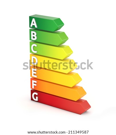3d energy efficiency label isolated white background with clipping path