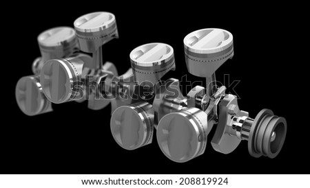 3d Engine pistons and cog isolated on black background High resolution