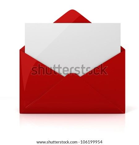3d envelope on white background