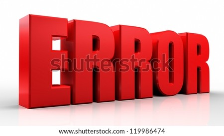 3D error word on white isolated background - stock photo