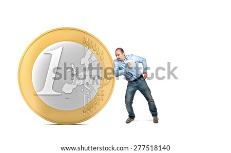 3d euro coin and man in push position - stock photo