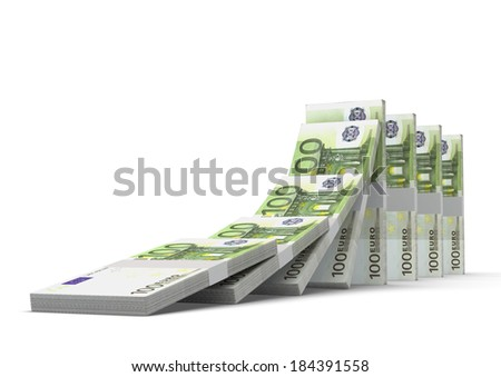 3D euro money dominoes stacked falling and collapsing  isolated on white background - stock photo