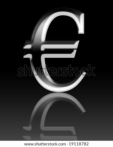 3d Euro symbol on a black background