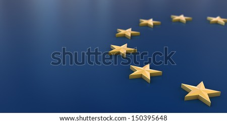 3D European Union flag background. - stock photo