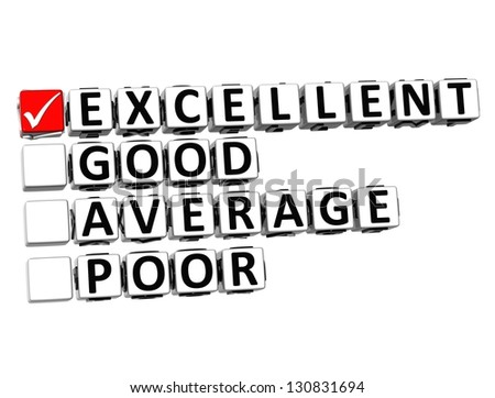 3D Excellent Good Average Poor Button Click Here Block Text over white background - stock photo