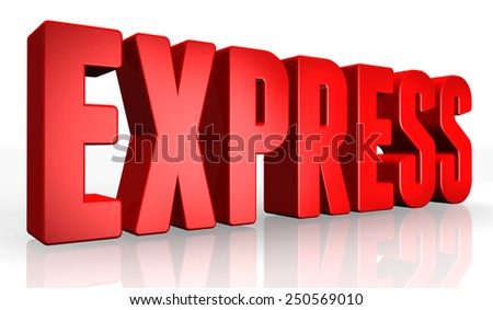 3D express text on white background - stock photo