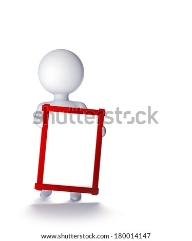 3d faceless man with the red label for the text in hand. Isolated on white background