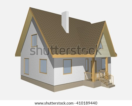3d family house isolated on white rendered generic.