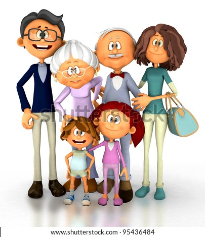 3D family looking happy - isolated over a white background - stock photo