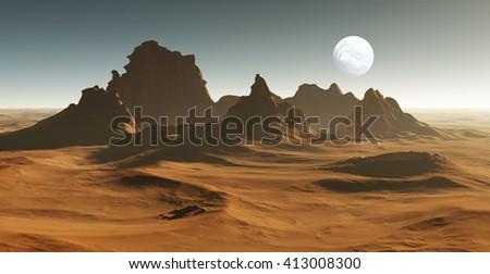 3D Fantasy desert landscape. All art elements made by me. - stock photo